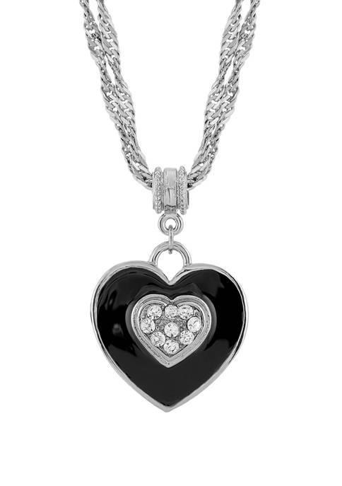 1928 Jewelry 16 Inch Adjustable Silver Tone Black