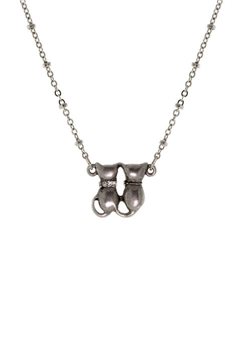 1928 Jewelry Silver Tone Double Cat Crystal Necklace