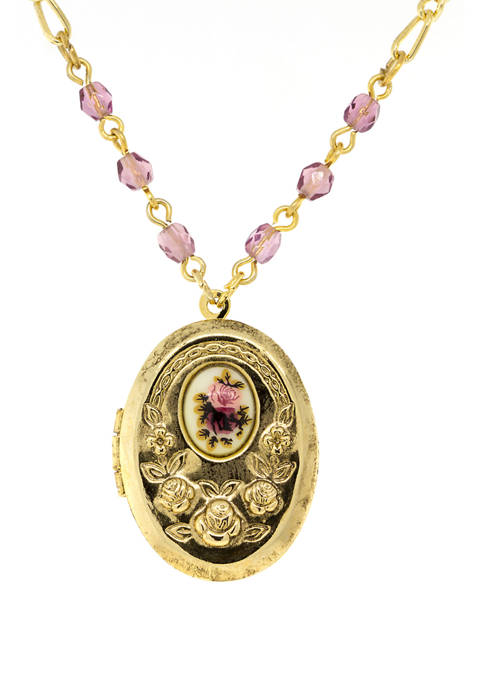 1928 Jewelry 18 Inch Gold Tone Pink/Purple Flower
