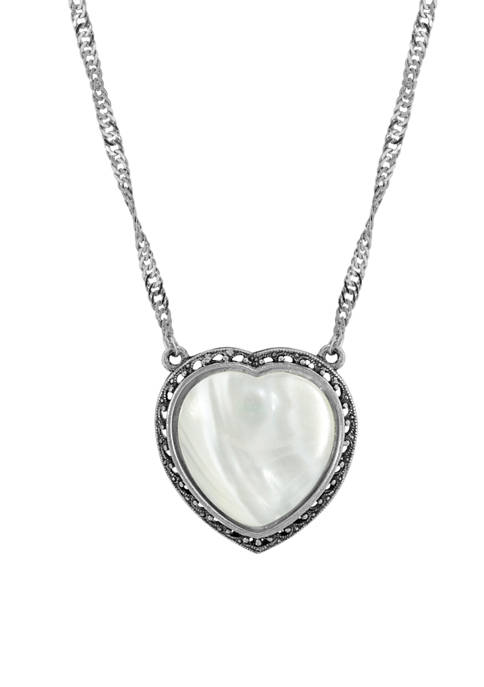 16 in Length Adjustable Silver Tone Mother of Pearl Heart Necklace