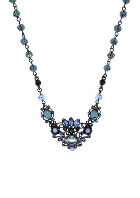 1928 Jewelry Black Tone Filigree Collar Necklace