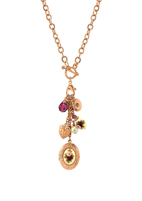 1928 Jewelry 20 Inch Rose Gold Tone Purple