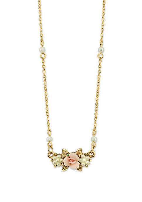 1928 Jewelry Gold-Tone Simulated Pearl Pink Porcelain Rose