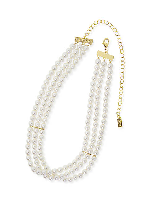 1928 Jewelry Gold-Tone Simulated Pearl 3-Row Choker Necklace