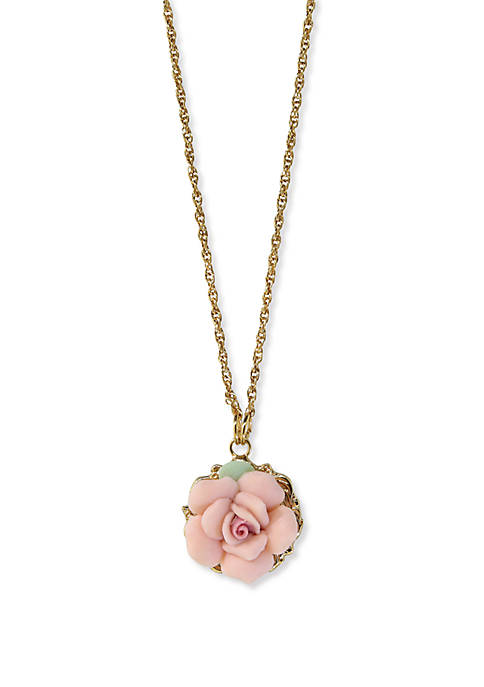 1928 Jewelry Gold-Tone Genuine Pink Porcelain Rose Pendant