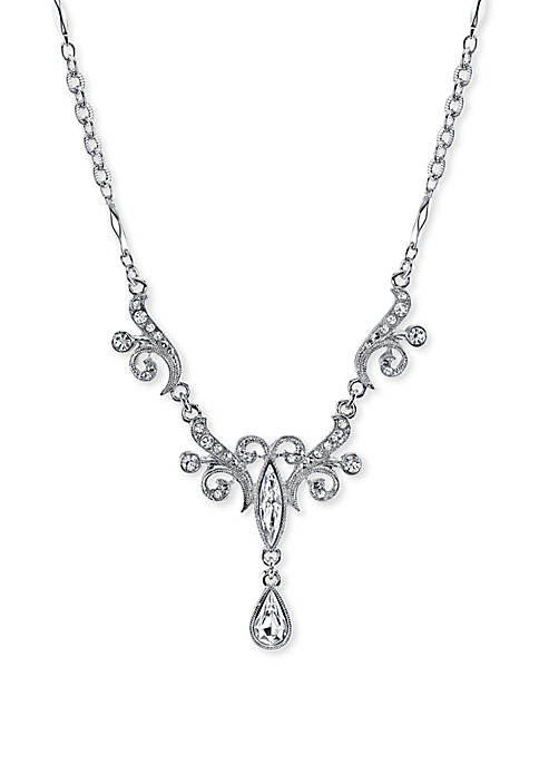 1928 Jewelry Silver-Tone Crystal Teardrop Necklace