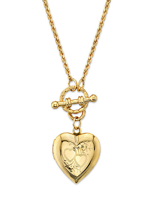 1928 Jewelry Gold-Tone Heart Locket Toggle Necklace