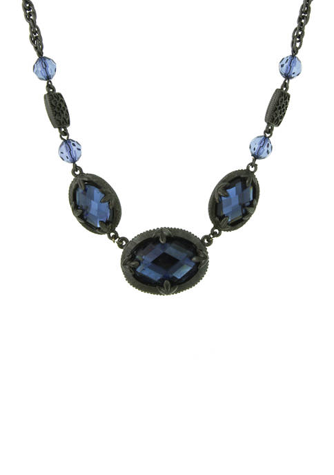 1928 Jewelry Silver Tone Blue Oval Collar Necklace