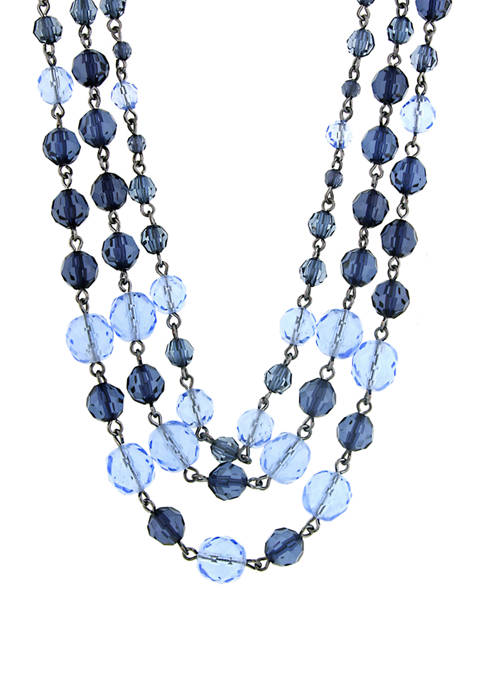 1928 Jewelry Hematite Blue Tonal 3 Strand Beaded
