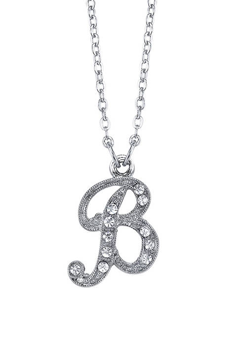 Silver Tone Crystal Initial B Necklace