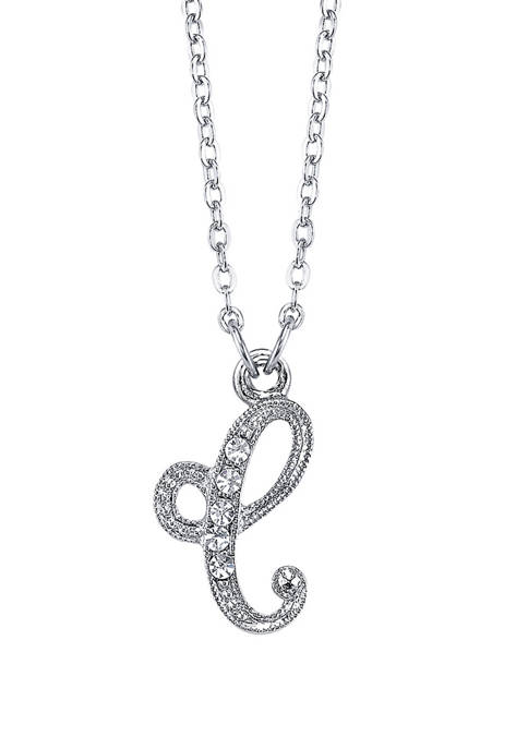 Silver Tone Crystal Initial C Necklace