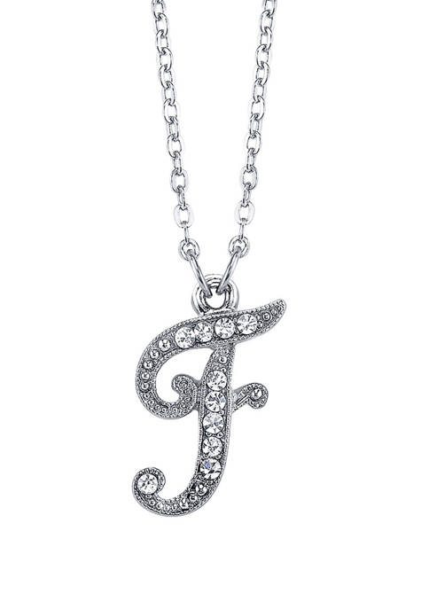 Silver Tone Crystal F Necklace
