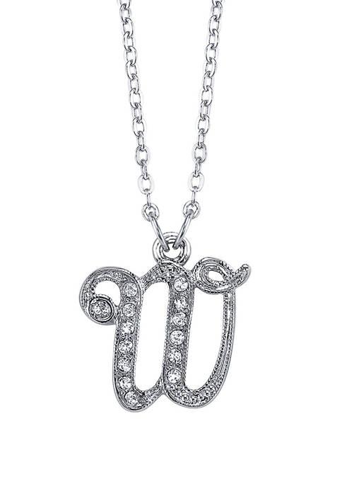 1928 Jewelry Silver Tone Crystal W Necklace