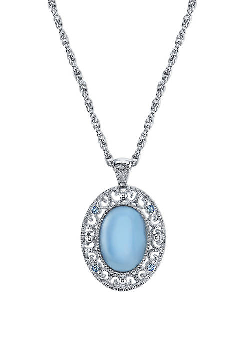 1928 Jewelry Silver Tone Blue Moonstone Oval Pendant
