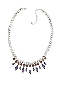1928 Jewelry Silver Tone Light Amethyst Crystal and Purple Navette Necklace