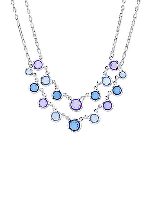Silver Tone Sapphire Blue 2 Row Necklace