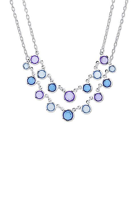 1928 Jewelry Silver Tone Sapphire Blue 2 Row