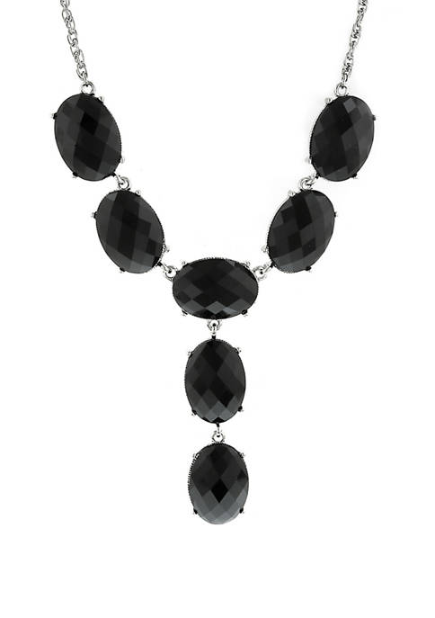 1928 Jewelry Silver Tone Black Oval Y Necklace