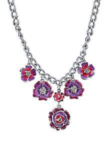 1928 Jewelry Silver Tone Purple and Pink Enamel Flower Necklace