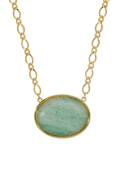 1928 Jewelry 16 in Adjustable Gold-Tone Green Aventurine