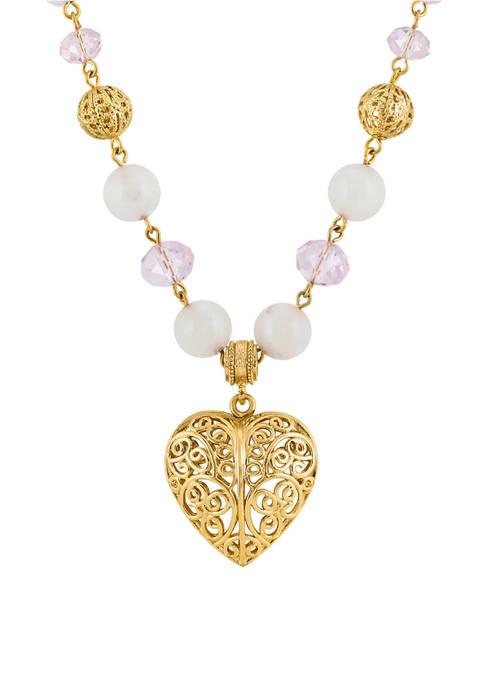 1928 Jewelry 16 Inch Adjustable Gold Tone Semi