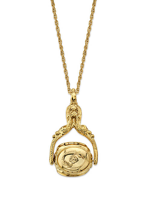 1928 Jewelry Gold-Tone 3 Sided Spinner Locket Necklace