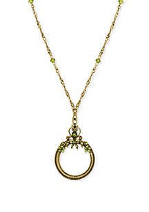 Gold-Tone Green Crystal Magnifying Glass Necklace