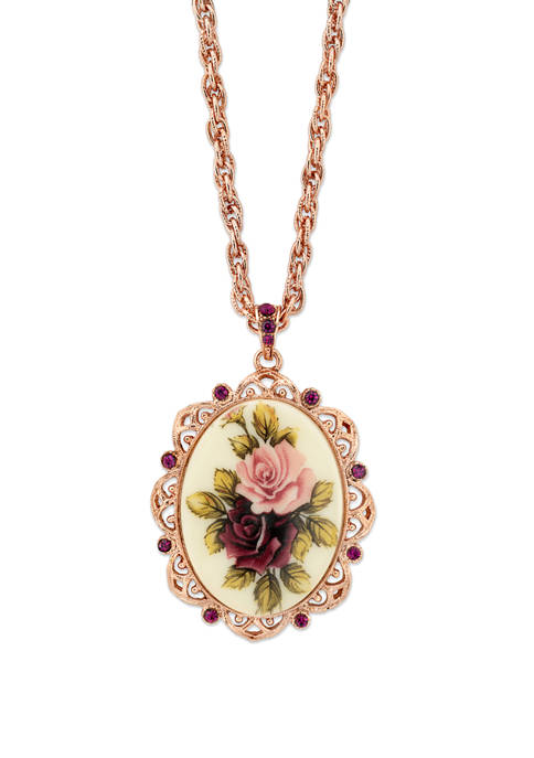 1928 Jewelry 28 Inch Rose Gold Tone Purple