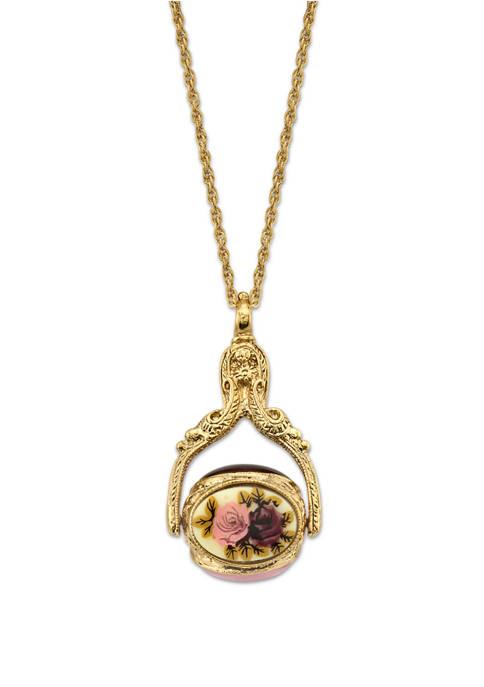 1928 Jewelry 30 Inch Gold Tone Flower Wax