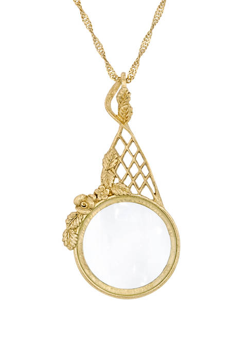1928 Jewelry 28 Inch Gold Tone Filigree Magnifying