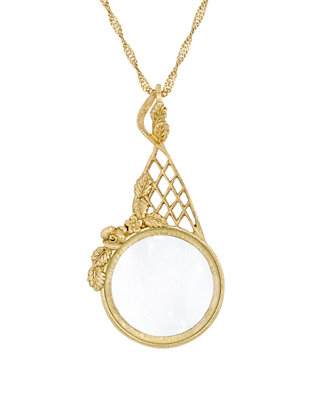 1928 Jewelry Silver Tone Filigree Magnifying Glass Necklace 28in