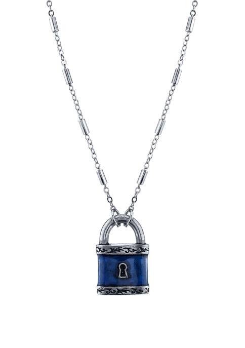 1928 Jewelry 28 Inch Silver Tone Blue Enamel