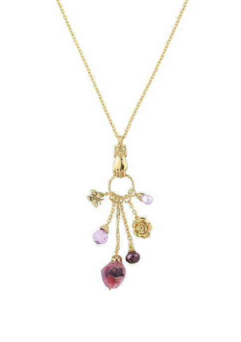 1928 Jewelry 30 Inch Gold Tone Amethyst Color
