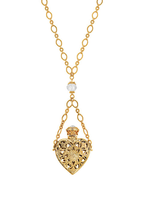1928 Jewelry 14K Gold Dipped Crystal Filigree Heart