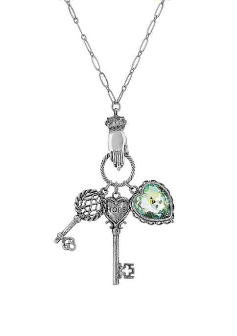 1928 Jewelry 28 Inch Pewter Aurora Borealis Crystal