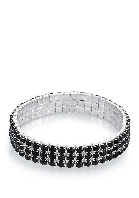 Silver Tone Black 3 Row Rhinestone Stretch Bracelet