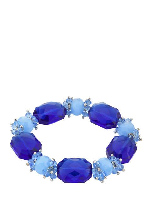 Silver Tone Bright Blue Beaded Stretch Bracelet