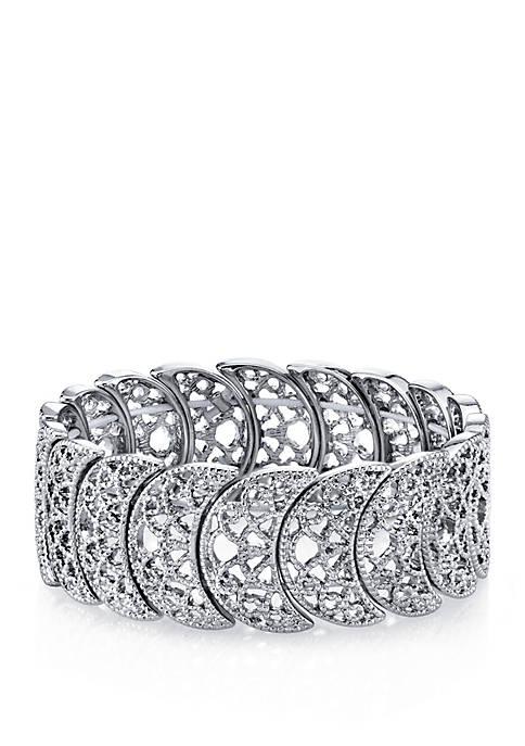 1928 Jewelry Silver Tone Half Circle Filigree Stretch