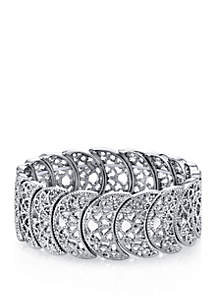 1928 Jewelry Silver Tone Half Circle Filigree Stretch Bracelet