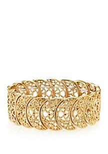 Gold Tone Half Circle Filigree Stretch Bracelet