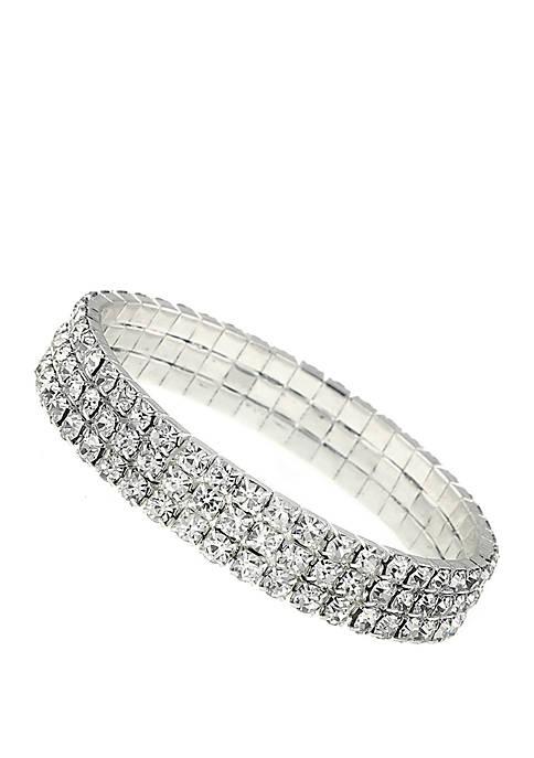 1928 Jewelry Silver Tone Crystal Rhinestone Stretch Bracelet