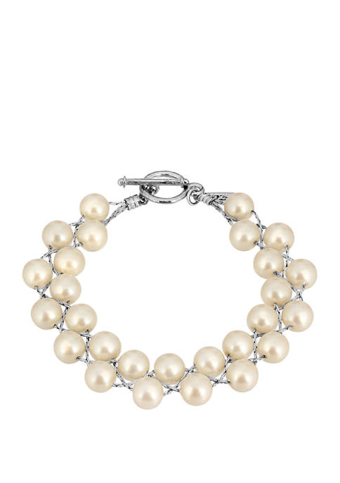 1928 Jewelry Silver Tone Faux Pearl Toggle Bracelet