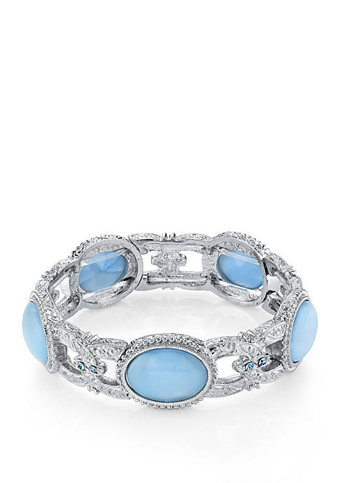 1928 Jewelry Silver Tone Light Blue Moonstone Bracelet