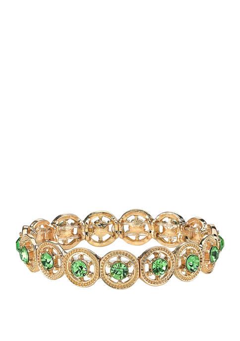 1928 Jewelry Gold Tone Green Stretch Bracelet