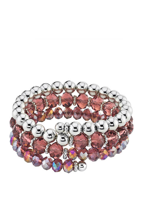 1928 Jewelry Silver Tone Amethyst Beaded Coil Bracelet