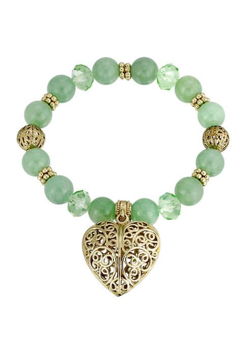 Gold Tone Semi Precious Aventurine Filigree Puff Heart Stretch Bracelet