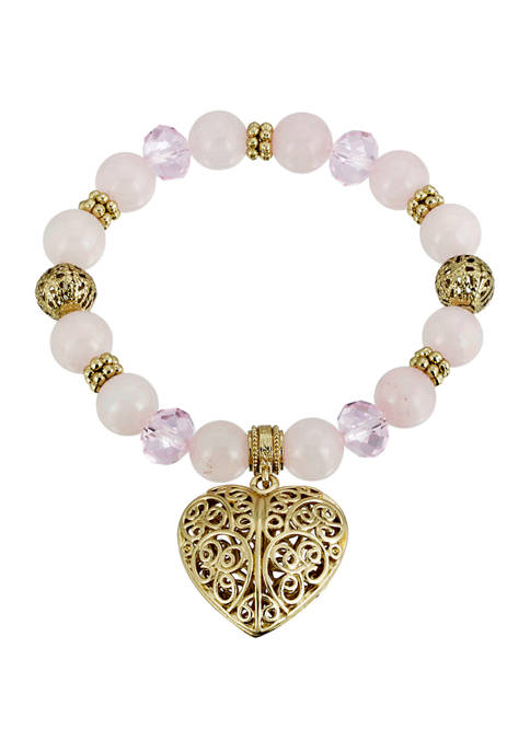 1928 Jewelry Gold Tone Semi Precious Rose Quartz
