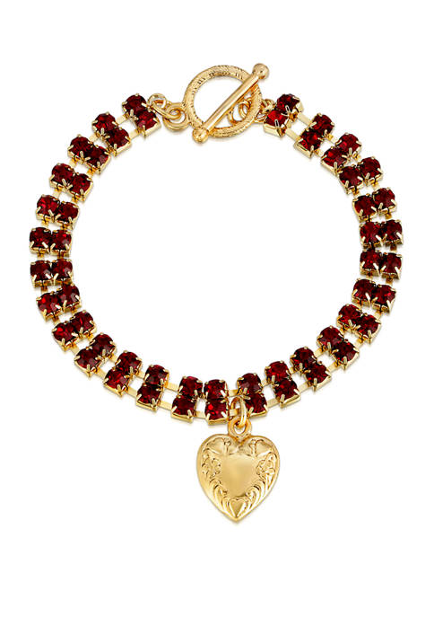 1928 Jewelry Gold Tone Red Rhinestone Heart Charm