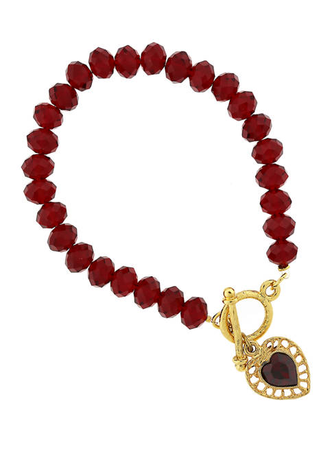 1928 Jewelry Gold Tone Red Bead Stretch Bracelet