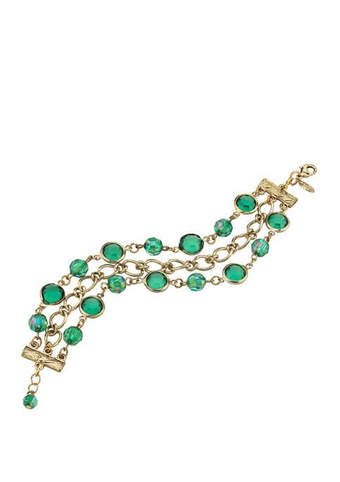 1928 Jewelry Gold Tone Emerald Green Aurora Borealis
